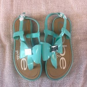 Bebe girls aquamarine jelly sandals XL 11-12